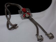 Vintage Silver Selro Selini Red African King Pearl Slide Lariat Necklace