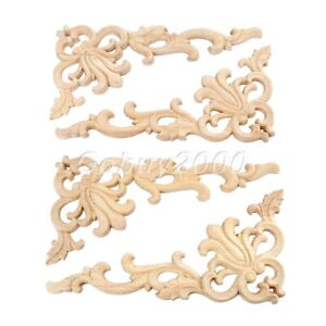Wood Carved Furniture Corner Onlay Applique Decals Decor Unpainted Decal 20*10cm