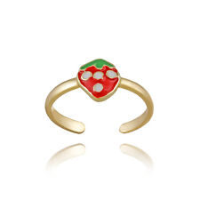 Gold over 925 Silver Strawberry Enamel Toe Ring