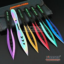 "6PC 6.75"" STAR WAR Technicolor Survival Double Edge Throwing Knife Set w/Sheath"