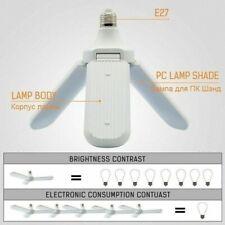 E27 LED Garage Shop Work Lights Bulb Ceiling Fixture Deformable Workshop 3-Leave