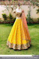 DIWALI YELLOW CLASSIC SILK Lehenga Choli Designer Indian Party Wear Lengha Sari