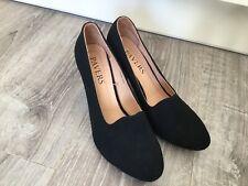 Pavers Black Faux Suede Court Shoes - Size Uk 6 Eur 39 - Excellent Condition