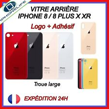 VITRE ARRIERE CACHE BATTERIE POUR IPHONE 8/ 8 PLUS X XR NOIR BLANC/OR-ROSE/ROUGE