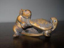 Netsuke Rat Souris Tortue Turtle II Figurine buis japonais Handcarved signé