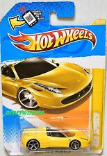 HOT WHEELS 2012 NEW MODELS FERRARI 458 SPIDER YELLOW BAD CARD