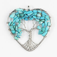 Natural Turquoise Howlite Chips Tree of Life Reiki Chakra Silver Heart Pendant
