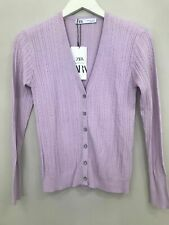 BNWT ZARA LILAC CABLE KNIT CARDIGAN WITH RHINESTONE BUTTONS SIZE L