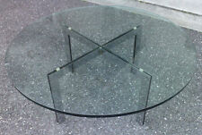 table base ronde design 70 chrome dalle verre coffee table glass style barcelona