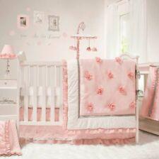Peanut Shell Baby Girl Crib Bedding Set- Pink, White & Gray Elegant 4 PC Arianna