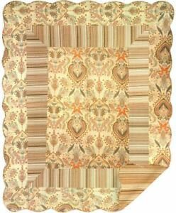 Brown Paisley Stripe North American Made Decorative Design Soft Throw Quilt
