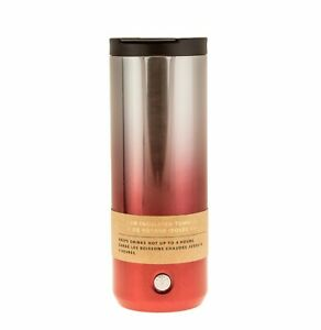Starbucks 2018 Holiday Insulated Mug Tumbler Red Silver Ombré Sparkle 16 Oz NEW