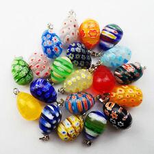 20pcs Beautiful Mixed Color Millefiori Glass Egg Pendant Bead(Randomly send)