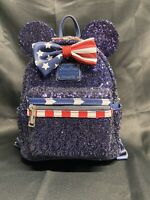 Disney Parks Loungefly Mini Backpack Americana Stars & Stripes Sequins Patriotic