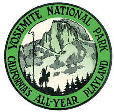Yosemite National Park  1950's Vintage-Looking Travel Sticker/Decal/Label  Green