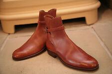 Rara De Colección Harry Hall Hombre Zapatos Botas De Cuero Tostado Size Uk 6.5