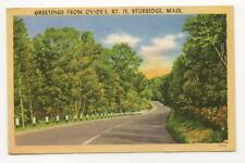 STURBRIDGE MA Vtg Greetings Postcard From Ovide's Hotel