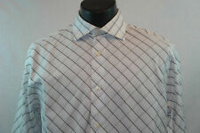 EXPRESS Premium Woven Dress Shirt - White with Patterned Design