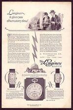1920s Original Vintage Whittnauer Longines Pocket Watch Art Deco Print Ad b