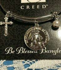 BLESSED BANGLE GUARDIAN ANGEL BRACELET,  BEAD & CRUCIFIX  By CREED *NEW*