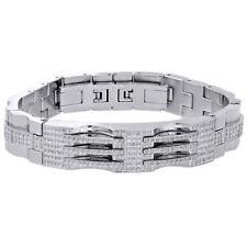 Mens Stainless Steel Genuine White Diamond Bangle Bracelet 13MM ID Link 1.75 Ct.