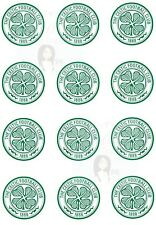12X CELTIC FOOTBALL CLUB EDIBLE PRINTED ICING CUPCAKE TOPPERS 2 INCHES NOT RICE!