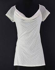 OS One September Sz Cream Tan Stripe Rayon Nylon Lace Knit Hi Lo Top F035