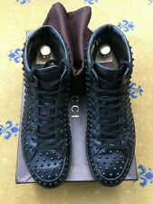 Gucci Mens Trainers Black Leather Studded Brooklyn High Tops Shoes UK 7 US 8 41
