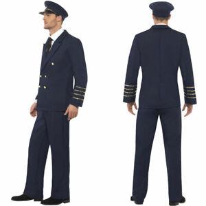 Mens Pilot Fancy Dress Costume Airline Captain Uniform Outfit