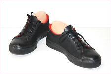 SONIA RYKIEL Tennis Sneakers Cuir et Tissu Noir T 37 TBE
