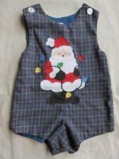 BOYS KELLY'S KIDS BLUE GREEN PLAID SANTA CLAUS JON JON SHORTALL CHRISTMAS 2 2T