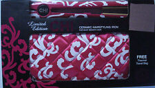 New CHI Ceramic Hairstyling Iron, Limited Edition Fuchsia Couture w/Thermal Bag