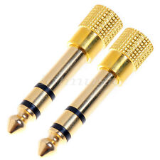 2* 3.5mm to 6.35mm Audio Adapter Jack Stereo Headphone M/F for Micophone Gold