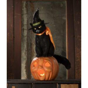 "14.5"" Bethany Lowe Black Cat Witch Hat JOL Pumpkin Retro Vntg Halloween Decor"
