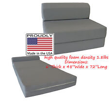 Full Size Gray Sleeper Chair Folding Foam Bed 6 x 48 x 72, 1.8 lb Density Foam
