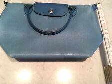Longchamp Tasche, Vintage Damen Handtasche, Voll Leder, (Hell) Blau, Le Pliage