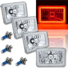 4X6 Red SMD LED Halo Angel Eye Headlight Headlamp Halogen Light Bulbs Set of 4