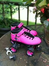 Kids Youth Riedell Dart Quad Roller Skates Size 5 HOT PINK = NICE !!!