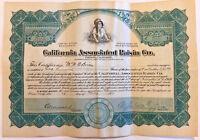 California Associated Raisin Co. > 1920 green stock certificate Fresno share