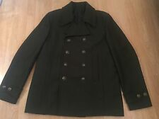 NWT Mens The Kooples Khaki Wool Pea Coat / Jacket Size 50 UK M RRP £385