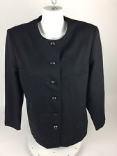 Alfred Dunner Womens 3/4 Sleeve Beaded Dress Suit Jacket Sz 12 Black