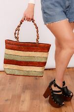 Large cream green & brown striped DENTS straw tote shopper beach bag
