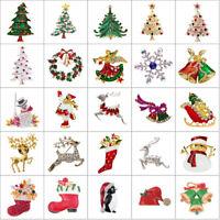 Vintage Gold/Silver Crystal Rhinestone Christmas Tree Snowman Brooch Pin Jewelry
