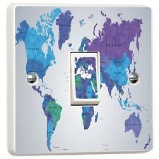 3D WORLD MAP Light Switch Sticker Cover Vinyl Skin Wall Decal Decor