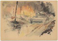 The Panzer Attack Rolls On Propaganda German WW2 Postcard (BB)