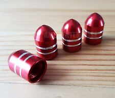 4x Domed RED Alloy Dust Valve Caps for Renault Clio Megane Twingo Laguna Coupe