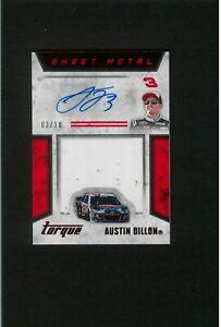 EARLY Austin Dillon Auto #/10 JUMBO Sheet Metal Autograph  NASCAR Racing Red