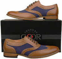 Mens New Tan Navy Lace Up Leather Lined Formal Brogue Shoe Size6 7 8 9 10 11 12