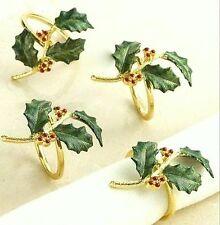 Lenox Holiday #7156 Green Holly Red Berry Gold Enamel Napkin Rings Set of 8 NIB