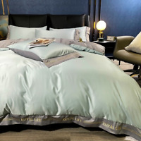 Luxury  Cotton Bedding Sets 4pcs Size Duvet Cover Bed/Flat Fitted Sheet Set